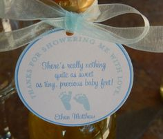 """50 Baby Shower Custom 2"""" Baby Feet Favor Tags - For Mini Wine and Champagne Bottles - Shower Favors - Thank You for Showering with Poem"""