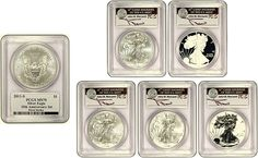 2011 25th Anniversary Silver Eagle Set - PCGS Graded MS70/PR70 First Strike - Mercanti Signed! - MintProducts.com Coin Store, Gold And Silver Coins, Silver Eagles, Silver Dollar, 25th Anniversary