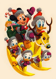 The gang hitches a ride on a handcrafted hobby horse-reindeer!    Back cover - Walt Disney's Christmas Parade No. 6, 1954.