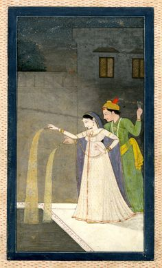 This painting from India depicts lovers playing with fireworks. Painted on paper, c. 1800.