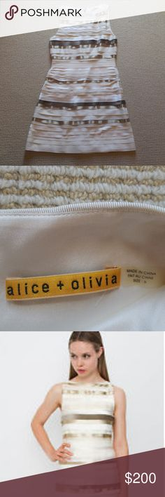 Alice + Olivia gold and white ribbon bandage dress Alice + Olivia gold and white ribbon bandage dress. Size 6 but fits like a 4. I ADDDDOOORRE this dress but it's just a little too snug. Excellent condition. Apologies for the pics, it doesn't fit in my dress form!! Alice + Olivia Dresses Mini