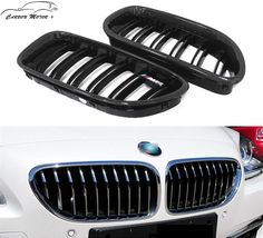 SODIAL 1 Pair Gloss Black Front Kidney Grill Bumper Grill for M6 640I 650I F06 F12 F13 2012 2013 2014 15 16 2017
