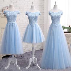 Cute a line lace off shoulder prom dress, lace evening dresses Silhouette: A-line Fabric: Tulle,lace Back Detail: Lace-up Color: gray, champagne,pink,light blue (Please note) Size: XS, S, M, L, XL, XXL SIZE: XS: Bust 77cm Waist 60cm S: Bust 80cm Waist 63cm M: Bust 83cm Waist 67cm L: Bust
