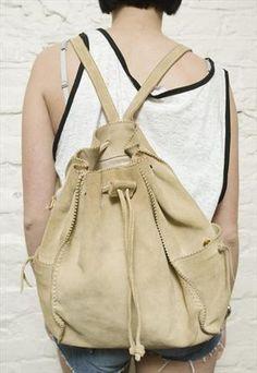 90's suede leather drawstring rucksack  £35