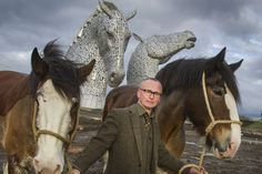 Replicas of Scotland's magnificent KELPIES statues are coming to NYC for National Tartan Day 2014. Scottish sculptor Andy Scott, pictured with Duke and Baron, the Clydesdale horses that were the inspiration for The Kelpies.