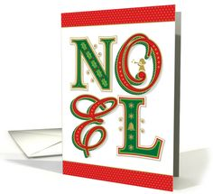 This Noel Christmas greeting card features ornate custom lettering with holly, snowflakes, poinsettia leaves, a bell and an angel blowing a horn by Ron Magnes at GreetingCardUniverse.com #anycardimaginable