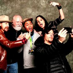 Norman Reedus, Sarah Wayne Callies, Scott Wilson, Lew Temple, and fan