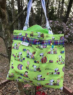 Easter basket easter bag easter market bag cloth tote bag small charlie brown easter bag easter basket reversible tote bag peanuts gang bag negle Gallery