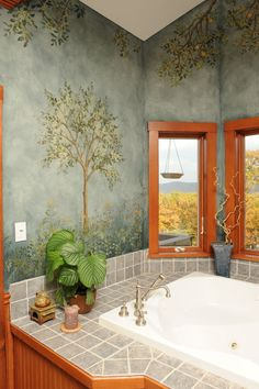 Wall Mural Stencils | Bathroom Remodeling Photos - Tub Room - Bathtub Room