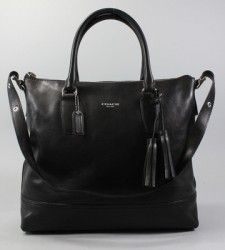 AUTH COACH Black Leather Medium Rory North South Tote Handbag