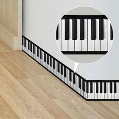 Floor Stickers, Cheap Wall Stickers, Art Pour Salon, Home Decoration Brands, White Piano, Wall Borders, Diy Bathroom Decor, Kitchen Wall Art, Living Room Art