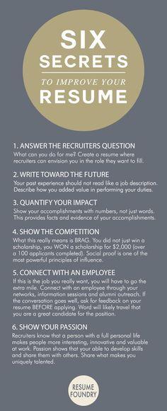 Six amazing secrets to improve your resume. Create A Resume, Resume Help, Job Resume, Resume Tips, Cv Tips, Resume Ideas, Resume Examples, Sample Resume, Business Resume