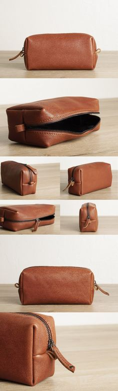 Brown leather toiletry kit / travel case by #TheLeatherExpert