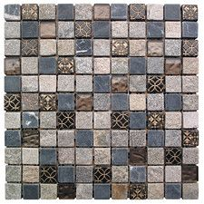 "Natural Splendor 1"" x 1"" Stone / Glass Square Mosaic Tile in 4 Color Blend"