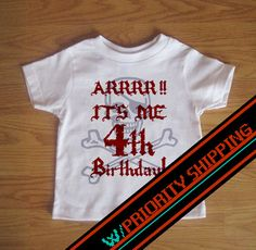 Pirate Birthday Tshirt w/PRIORITY SHIPPING  Custom by PartyWithMe, $16.00