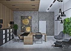 1-eco-style-office-interior-design-project-render-faux-wooden-panels-walls-ceiling-living-wall-vertical-garden-white-gray-green-black-pendant-desk-lamps.jpg (900×652)