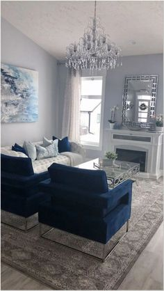 Get inspired by Glam Living Room Design photo by Wayfair. Wayfair lets you find the designer products in the photo and get ideas from thousands of other Glam Living Room Design photos. Blue Living Room Decor, Glam Living Room, Home And Living, Living Room Designs, Bedroom Decor, Small Living, Blue Home Decor, Cozy Living, Blue Living Room Furniture