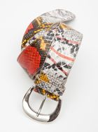 """Belt     A200BT11CIN    Multi Colored Python Embossed Belt With Silver Buckle. 1-1/2"""" wide. Made in Italy.100% LEATHER"""