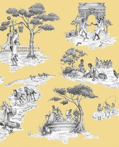 Sheila Bridges Harlem Toile Du Jouy for the stairs leading up to the attic.  Sunny yellow will be just the thing on a cold winter morning!