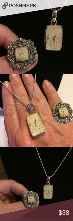 "Incredible Stamped German Psilomelane Dendrite Set Gorgeous set. Hard to find. All Stamped Sterling silver with chain size your choice. 925 Stamped silver Ring is size 6. I know you want something as amazing as you. This is it. Pendant is 1"". Christmas is coming! Ana Silver Co USA Jewelry Necklaces"