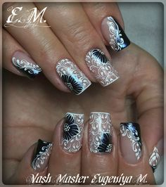 Fails design elegant lace New ideas Lace Nails, Silver Nails, Elegant Nail Designs, Nail Art Designs, Nails Only, My Nails, Beauty Hacks Nails, Bridal Nail Art, Stamping Nail Art