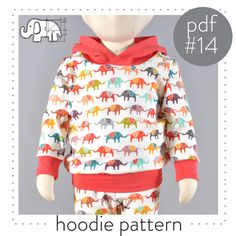 Toddler and baby hoodie pdf sewing pattern download, great wardrobe staple!  You will need:  -Knit fabric for sweatshirt and hood: Jersey,