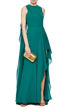 Green Double Silk Georgette Draped Gown by Elie Saab - Moda Operandi