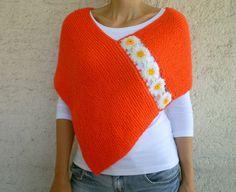 Knit Orange Poncho with Daisy Motifs  Floral Shawl by bysweetmom, $72.00