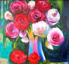 Oil painting - roses and peony