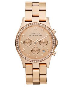 Marc by Marc Jacobs Watch, Womens Chronograph Henry Rose Gold Ion Plated Stainless Steel Bracelet 40mm MBM3118 $275