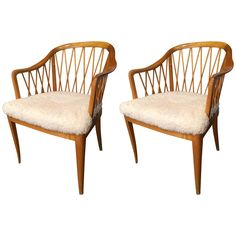 "Pair of Swedish, 1940s Carl Malmstens ""Widemar Chairs"" 