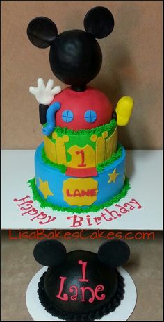 Mickey mouse club house cake and smash cake by LisaBakesCakes.com