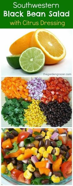 Gmo Free Gardening Southwestern black bean salad with a fresh citrus dressing. Also makes a great, healthy take-along lunch! (vegan, gluten-free) - Southwestern black bean salad with citrus dressing (vegan, gluten-free) Mexican Food Recipes, Whole Food Recipes, Vegetarian Recipes, Cooking Recipes, Healthy Recipes, Comidas Light, Healthy Snacks, Healthy Eating, Soup And Salad