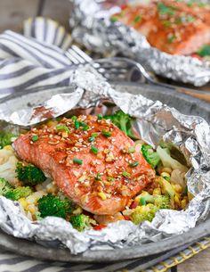 Sriracha honey salmon vegetable packets