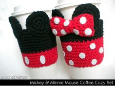 PATTERN: Mickey & Minnie Mouse inspired Crocheted Coffee Cozy Set. $4.99, via Etsy.