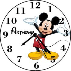 Mickey Mouse Inspired Personalized Wall Clock Personalized Clocks, Fun Stuff, Mickey Mouse, Disney Characters, Fictional Characters, Inspired, Wall, Inspiration, Etsy