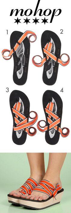 Tie it up toe-strap style. Mokobo Wedges, Infinitely Interchangeable! #stylingcard