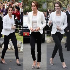 Kate's first look of the day included the ZARA Ivory One Button Blazer, H&M off the shoulder top, J. Crew Avery Heels in Tweed, her Asprey necklace with charms from the Woodland Collection, and Annoushka pearl drops with Kiki McDonough hoops!