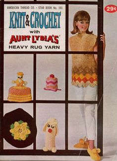 Star 191 Aunt Lydia's Rug Yarn Crochet Knit Patterns Slippers Bottle Covers 1960 #AmericanThreadCompany #KnittingCrochetPatterns