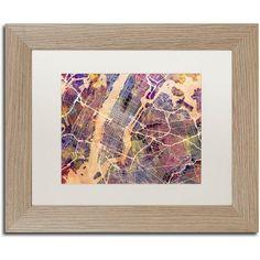 Trademark Fine Art 'New York City Street Map' Canvas Art by Michael Tompsett, White Matte, Birch Frame, Beige