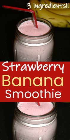 How to make healthy Strawberry Banana Smoothie with just 3 ingredients! Easy Banana Strawberry Smoothie with milk recipe that is perfect for breakfast or brunch | TastyGalaxy.com Easy Healthy Smoothie Recipes, Delicious Breakfast Recipes, Brunch Recipes, Healthy Juices, Healthy Drinks, Healthy Foods, Strawberry Banana Smoothie, Strawberry Recipes, Breakfast Smoothies