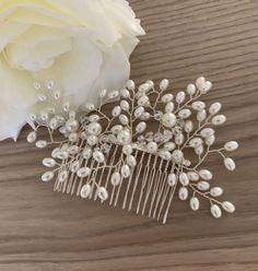 Evie Pearl Bridal Hair Comb A lovely handmade pearl hair comb on a silver comb Perfect for a wedding prom or occasion Materials Stimulated pearls Silver Hair Accessories, Pearl Hair Pins, Wedding Hair Pins, Hair Beads, Vines, Headbands, People, Boho Headpiece, Diy Handbag