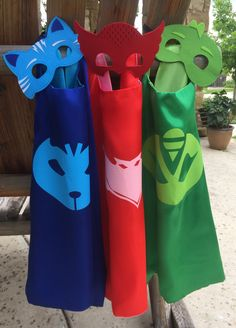 PJ masks cape and mask set ~ PJ Masks Costume ~ Gekko, Catboy & Owlette birthday party favors, - superhero capes by CapedMommy on Etsy https://www.etsy.com/listing/291474585/pj-masks-cape-and-mask-set-pj-masks
