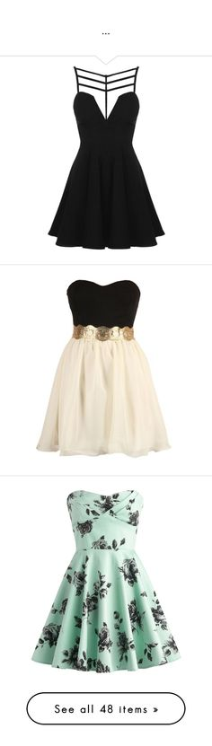 """..."" by ingridaffonso ❤ liked on Polyvore featuring dresses, vestidos, short dresses, black, short party dresses, cutout skater dress, mini party dress, party skater dresses, rayon dress and robe"