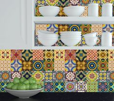 Set of 24 tile stickers Mexican Talavera style stickers mixed for walls Kitchen bathroom Stair decals C