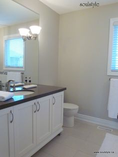sherwin williams repose gray - Google Search Bathroom Floor Tiles, Tile Floor, Sw Repose Gray, Small Bathroom, Bathroom Ideas, Amazing Spaces, Pent House, Grey, Living Room