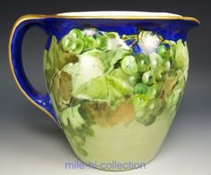 LIMOGES HAND PAINTED GRAPES COBALT BLUE WATER PITCHER