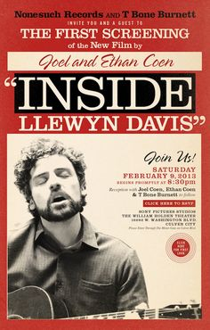 This poster for Inside Llewyn Davis looks like an old advertisement from his era