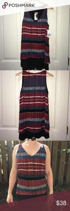 Karen Kane Free Spirit Double Layer Tank Made in the USA, this red, white and blue tank is as beautiful as it is patriotic. Brand new with tags. Karen Kane Tops Tank Tops