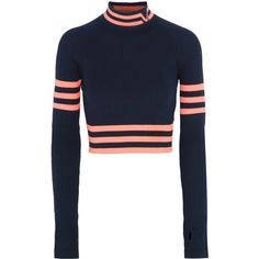 Versace Cropped striped stretch-wool sweater ($570) ❤ liked on Polyvore featuring tops, sweaters, navy, navy crop top, cropped sweater, white crop top, white striped sweater and navy blue crop top